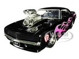1969 Chevrolet Camaro Blower Black Pink Flames Bigtime Muscle Series 1/24 Diecast Model Car Jada 30707