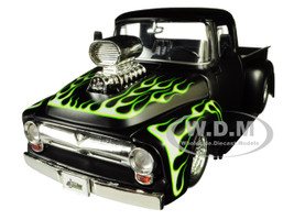 1956 Ford F-100 Pickup Truck Blower Matt Black Flames Just Trucks Series 1/24 Diecast Model Car Jada 30716