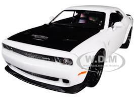 2018 Dodge Challenger SRT Hellcat Widebody White Black Hood 1/24 Diecast Model Car Motormax 79350