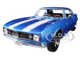 1967 Chevrolet Camaro Z/28 Metallic Blue White Stripes 1/18 Diecast Model Car Road Signature 92188