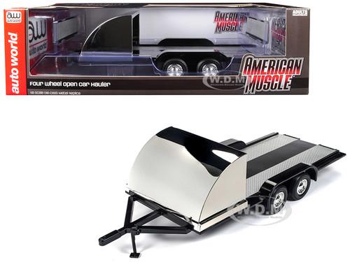 Four Wheel Open Car Hauler Trailer Black 1/18 Scale Models Autoworld AMM1166
