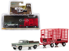 1969 Ford F-100 Pickup Truck Farm Ranch Special Long Bed Green Cream Red Bale Throw Wagon Hitch Tow Series 15 1/64 Diecast Models Greenlight 32150 A