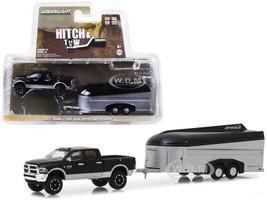 2017 Dodge Ram 2500 4x4 Pickup Truck Black Silver Aerovault Trailer Hitch Tow Series 15 1/64 Diecast Models Greenlight 32150 B