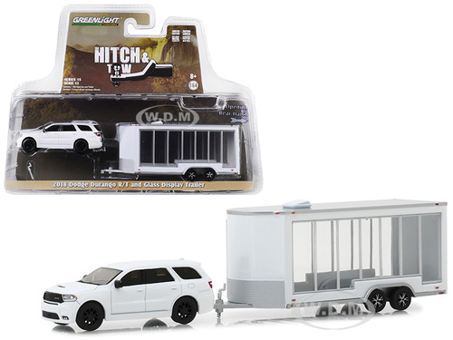 2018 Dodge Durango R/T Glass Display Trailer White Hitch Tow Series 15 1/64 Diecast Models Greenlight 32150 D