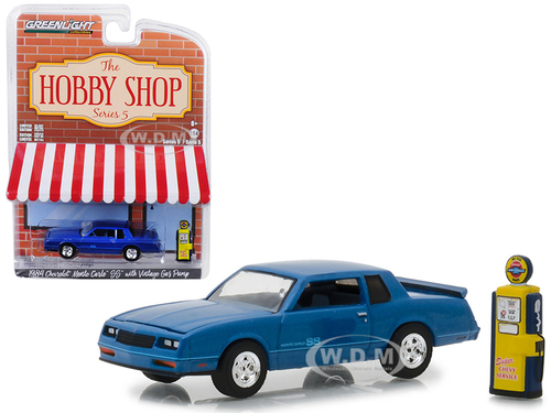 1984 Chevrolet Monte Carlo SS Blue Vintage Gas Pump The Hobby Shop Series 5 1/64 Diecast Model Car Greenlight 97050 F