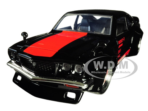1974 Mazda RX-3 Black Red Stripe JDM Tuners 1/24 Diecast Model Car Jada 30717