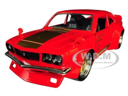 1974 Mazda RX-3 Red Gold Stripe JDM Tuners 1/24 Diecast Model Car Jada 30718