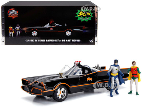 Classic TV Series Batmobile Working Lights Diecast Batman Robin Figures 80 Years Batman 1/18 Diecast Model Car Jada 98625