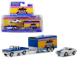 1972 Ford F-100 Pickup Truck 1976 Ford Mustang II Cobra II Enclosed Car Hauler Charlie's Angels 1976 1981 TV Series Hollywood Hitch Tow Series 6 1/64 Diecast Model Greenlight 31070 A