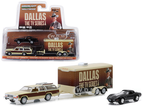 1979 Ford LTD Country Squire Wagon 1978 Chevrolet Corvette Enclosed Car Hauler Dallas 1978 1991 TV Series Hollywood Hitch Tow Series 6 1/64 Diecast Model Greenlight 31070 C