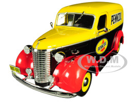 1939 Chevrolet Panel Truck Pennzoil Yellow Black Red Running on Empty Series 1/24 Diecast Model Car Greenlight 85021
