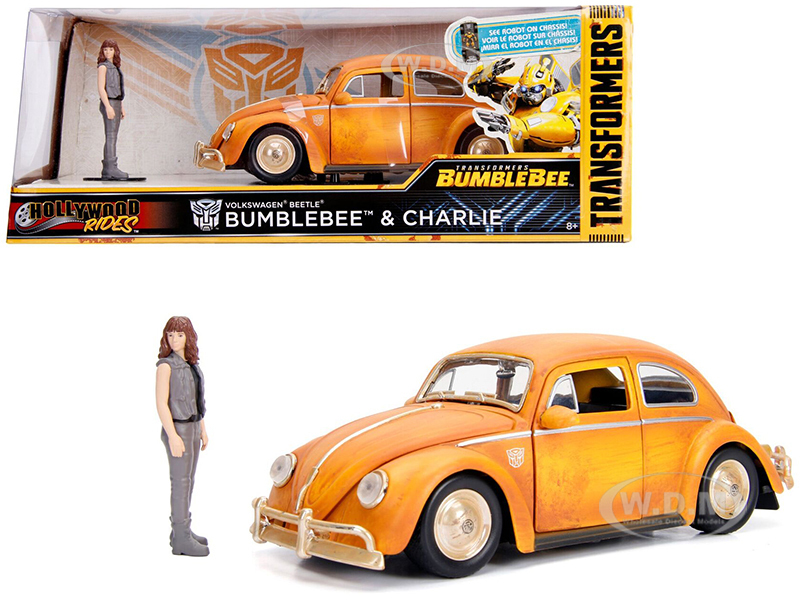Volkswagen Beetle Weathered Yellow Robot on Chassis Charlie Diecast Figurine Bumblebee 2018 Movie Transformers Series Hollywood Rides Series 1/24 Diecast Model Car Jada 30114