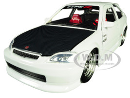 1997 Honda Civic Type R White Carbon Hood JDM Tuners 1/24 Diecast Model Car Jada 30720