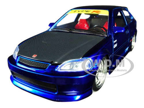 1997 Honda Civic Type R Candy Blue Carbon Hood JDM Tuners 1/24 Diecast Model Car Jada 30929