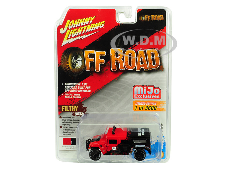 Hummer H1 Wagon #924 Red Black Baja Pilots Off Road Limited Edition 3600 pieces Worldwide 1/64 Diecast Model Car Johnny Lightning JLCP7154