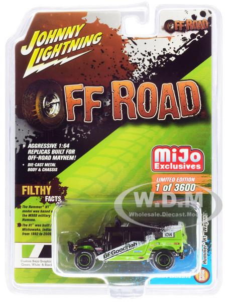 Hummer H1 Wagon #1014 Black Green BFGoodrich Off Road Limited Edition 3600 pieces Worldwide 1/64 Diecast Model Car Johnny Lightning JLCP7155