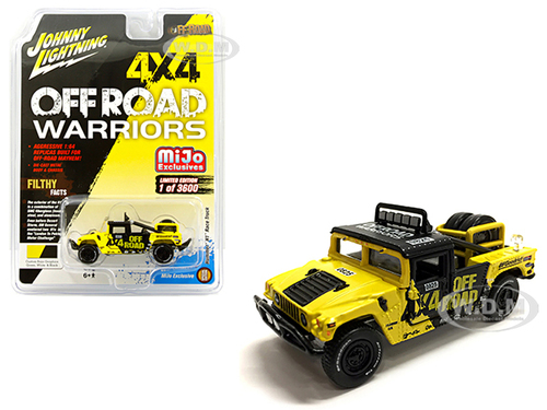 Hummer H1 Race Truck Yellow Black Tire Carrier Off Road Warriors Limited Edition 3600 pieces Worldwide 1/64 Diecast Model Car Johnny Lightning JLCP7157
