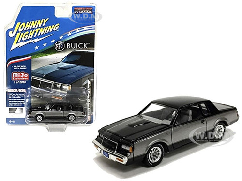 1987 Buick Regal T-Type Black Silver Limited Edition 2016 pieces Worldwide 1/64 Diecast Model Car Johnny Lightning JLCP7179