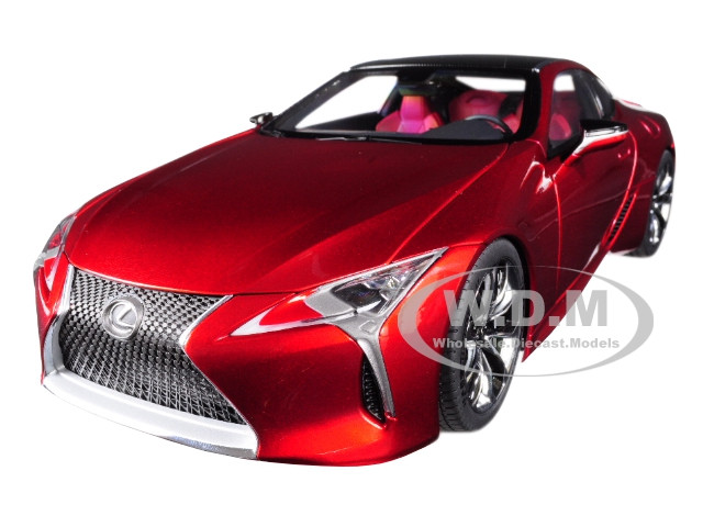 Lexus LC500 Metallic Red Dark Rose Interior Carbon Top 1/18 Model Car Autoart 78873