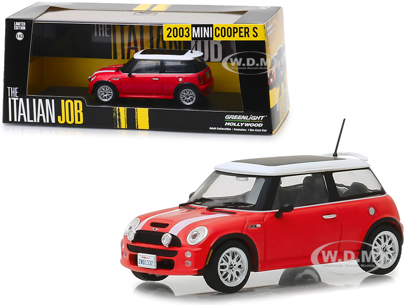 2003 Mini Cooper S Red White Stripes The Italian Job 2003 Movie 1/43 Diecast Model Car Greenlight 86547