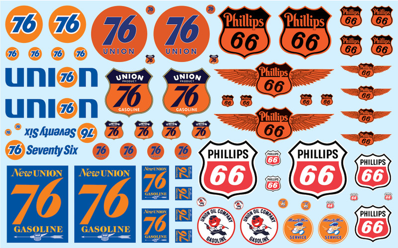 Phillips 66 Union 76 Trucking Decals 1/25 Scale Models AMT MKA032