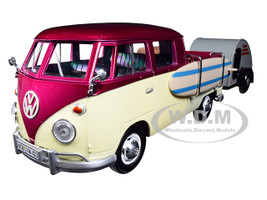 Volkswagen T1 Pickup Truck Purple Cream Surfboard Accessories Gray Teardrop Trailer 1/24 Diecast Model Car Motormax 79673