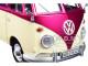 Volkswagen T1 Pickup Truck Purple Cream Surfboard Accessories Gray Teardrop Trailer 1/24 Diecast Model Car Motormax 79673
