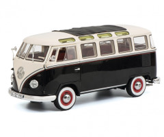 1959 1963 Volkswagen T1 Samba Bus Black White Limited Edition 1000 pieces Worldwide 1/18 Diecast Model Car Schuco 450028700