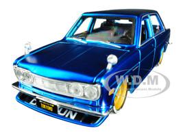 1971 Datsun 510 Matt Candy Blue Gold Wheels Tokyo Mod Maisto Design 1/24 Diecast Model Car Maisto 32527