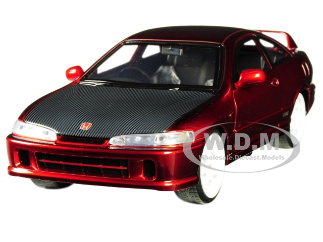 1995 Honda Integra Type-R Japan Spec RHD Right Hand Drive Candy Red Carbon Hood White Wheels JDM Tuners 1/24 Diecast Model Car Jada 30932
