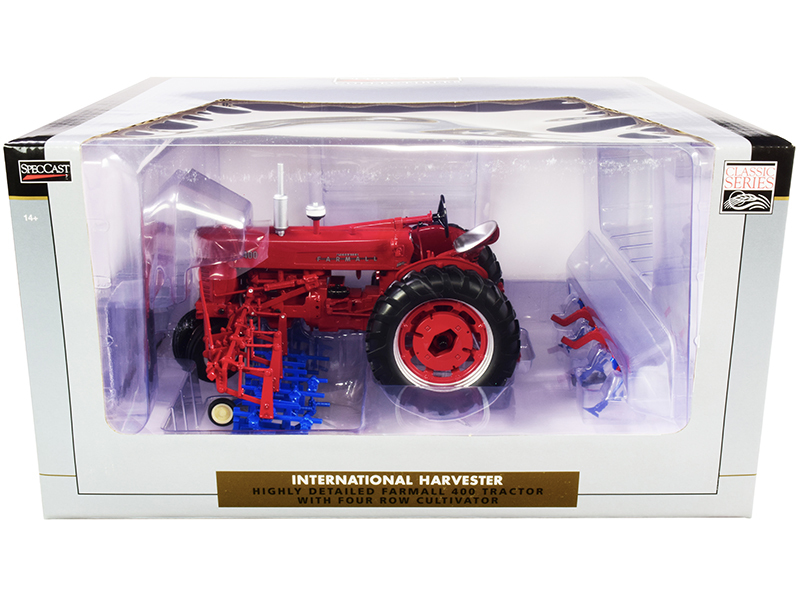 International Harvester Farmall 400 Tractor Four Row Cultivator Classic Series 1/16 Diecast Model Speccast ZJD1818