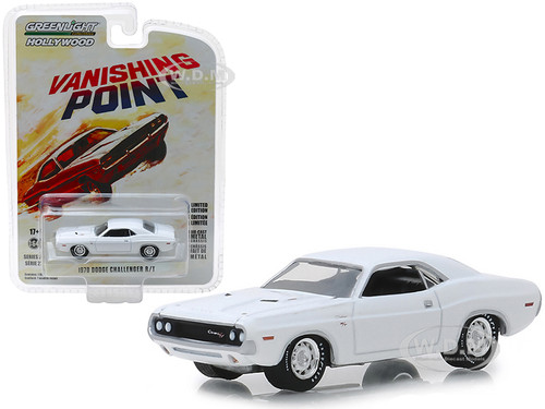1970 Dodge Challenger R/T White Vanishing Point 1971 Movie Hollywood Series 22 1/64 Diecast Model Car Greenlight 44820 A