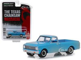 1971 Chevrolet C-10 Pickup Truck Blue Dusty The Texas Chainsaw Massacre 1974 Movie Hollywood Series 22 1/64 Diecast Model Car Greenlight 44820 B