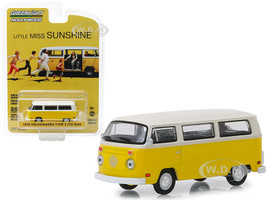 1978 Volkswagen Type 2 T2 Bus Yellow White Top Little Miss Sunshine 2006 Movie Hollywood Series 22 1/64 Diecast Model Greenlight 44820 C