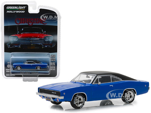 1968 Dodge Charger Dark Blue Black Top Christine 1983 Movie Hollywood Series 22 1/64 Diecast Model Car Greenlight 44820 E