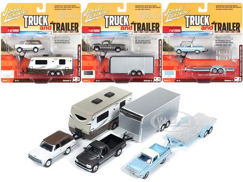 Truck and Trailer Series 4 Set B 3 Cars Limited Edition 2560 pieces Worldwide 1/64 Diecast Model Cars Johnny Lightning JLBT009 B