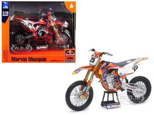 KTM 450 SX-F #25 Marvin Musquin Red Bull Factory Racing 1/10 Diecast Motorcycle Model New Ray 57963