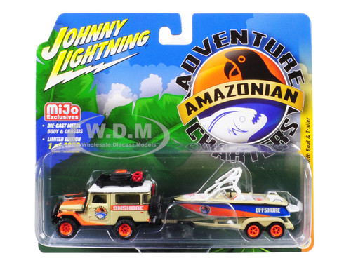 1980 Toyota Land Cruiser Accessories Boat Trailer Amazonian Adventure Charters Limited Edition 4800 pieces Worldwide 1/64 Diecast Models Johnny Lightning JLCP7164