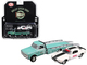 1967 Chevrolet Ramp Truck Turquoise 1971 Chevrolet Camaro Z/28 White Black Stripe Holley Speed Shop Acme Exclusive 1/64 Diecast Model Cars Greenlight Acme 51247