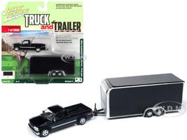 2000 Chevrolet Silverado Pickup Truck Enclosed Car Trailer Black Limited Edition 2560 pieces Worldwide Truck and Trailer Series 4 1/64 Diecast Model Car Johnny Lightning JLBT009 A