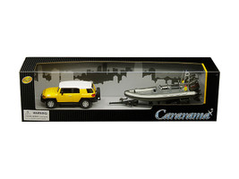 Toyota FJ Cruiser Yellow White Top Gray Speed Boat Trailer 1/43 Diecast Model Car Cararama 48115