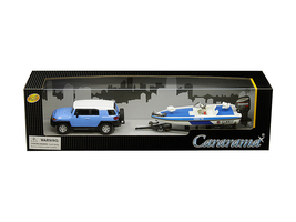 Toyota FJ Cruiser Speed Boat Trailer Blue White 1/43 Diecast Model Car Cararama 48116