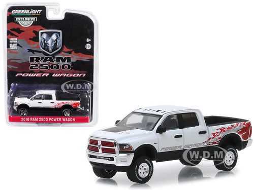 2016 Dodge Ram 2500 Power Wagon Pickup Truck Bright White Clearcoat Hobby Exclusive 1/64 Diecast Model Car Greenlight 29982