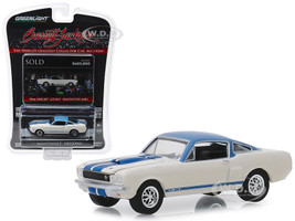 1966 Ford Mustang Shelby GT350 Prototype #001 Lot #1406 White Light Blue Top Blue Stripes Barrett Jackson Scottsdale Edition Series 3 1/64 Diecast Model Car Greenlight 37160 A