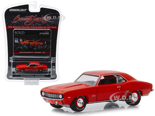 1969 Chevrolet Camaro ZL1 Lot #1409 Orange Barrett Jackson Scottsdale Edition Series 3 1/64 Diecast Model Car Greenlight 37160 D