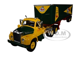 Mack B-61 Day Cab 40' Vintage Trailer Built Like a Mack Yellow Green 1/64 Diecast Model First Gear 60-0444