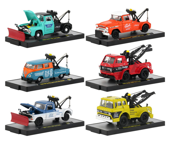 Auto Tow Trucks 6 piece Set Release 52 DISPLAY CASES 1/64 Diecast Model Cars M2 Machines 32500-52