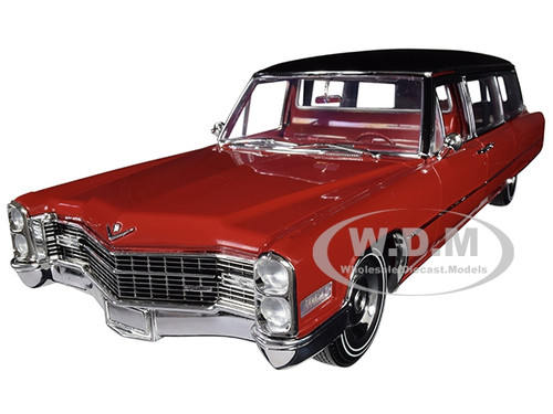 1966 Cadillac S&S Limousine Red Black Vinyl Top Precision Collection Limited Edition 396 pieces Worldwide 1/18 Diecast Model Car Greenlight 18008