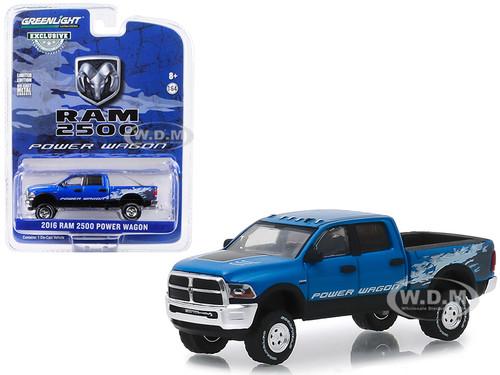 2016 Dodge Ram 2500 Power Wagon Pickup Truck Blue Streak Pearlcoat Hobby Exclusive 1/64 Diecast Model Car Greenlight 29983