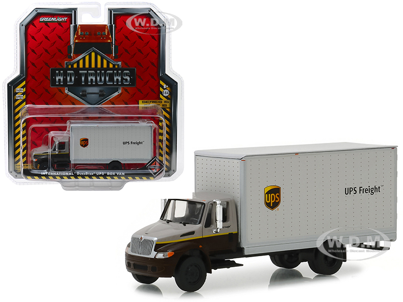 International Durastar Box Van UPS Freight United Parcel Service HD Trucks Series 15 1/64 Diecast Model Greenlight 33150 B